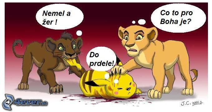obrazky.4ever.sk  pokemon  levi kral  pikacu  lev  kreslene 3876520 - vtipný obrázok - Kalerab.sk